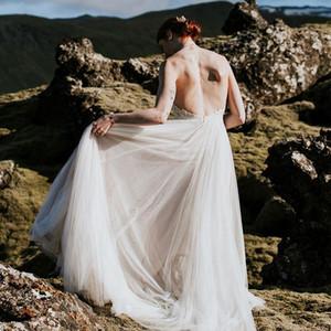 Boho Wedding Dresses Sexy Halter Neck Backless Lace Top Soft Tulle Skirt A Line Bohemian 2021 Bridal Gowns Vestidos De Noiva