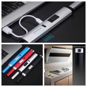 USB electrónica de cozinha Lighter 10 cores elétrica recarregável à prova de vento de metal longo Arc OOA6312-1 isqueiro isqueiros 120pcs