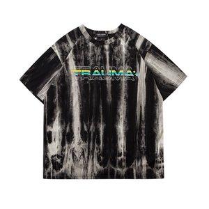 Original del tinte del lazo flojo de algodón para hombre camisetas de cuello redondo de gran tamaño de Hip Hop camiseta de manga corta de Harajuku transpirable verano Top Tees