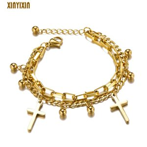 Big Gold Cross Stainless Steel Bracelet for Women Men Cute Round Balls Multi Layers Chain Bracelet 2019 Fashion Jewelry New Gift