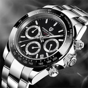 PAGANI Montre chronographe hommes de conception multifonctions en acier inoxydable d'affaires montre à quartz Relogio Masculino VK63