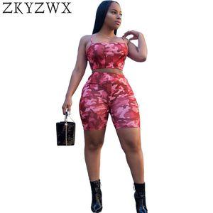 ZKYZWX atractivo más el tamaño de los espaguetis de Gaza de dos piezas de cultivos hombro Conjunto del camuflaje del verano cortocircuitos de las mujeres Off Top + shorts 2pcs de Trajes