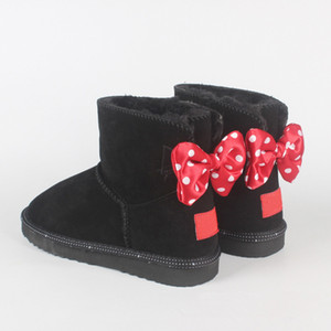 Classic Design Short Baby Boy Boy Girl Mujeres Niños Bow-Tize Botas de nieve Piel Integrada Mantenga las botas cálidas EUR SZIE 21-43 Envío gratis