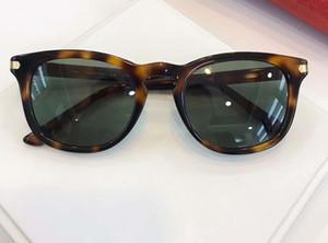 мужчины 0011s Золото Tortoise Солнцезащитные очки Зеленые линзы Солнцезащитные очки Sonnenbrille Дизайнер Sungalsses Оттенки Новые с коробкой