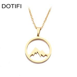 DOTIFI Edelstahl-Halskette für Frauen Man Mountain Hill Gold und Silber Farbe Anhänger Halskette Verpflichtungs-Schmucksachen