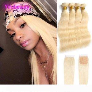 Peruanische Menschenhaar 4 Bündel mit 4X4-Spitze-Schliessen 613 Blonde seidige gerade Virgin Hair 5 Stück ein Set Haar-Einschlagfaden