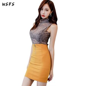 2 Pieces Sets Summer Lace Sleeveless Blouses Tops See Through Womens Suits Yellow Mini Pencil Wrap Skirts Sexy Ladies Club Dress