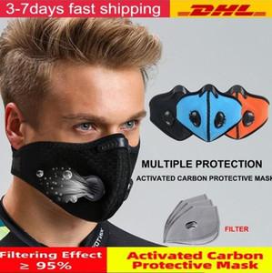 US Stock Cyclisme demi-masque visage avec filtre respiratoire Valve PM 2.5 Activated Carbon Anti-Pollution Hommes Femmes Vélo Sport Bike Masque anti-poussière