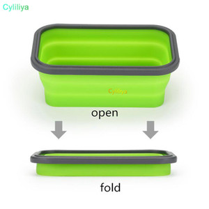 6 Colors Floding Lunch Boxes Food Grade Silicone Food Storage Containers Student Portable Bento Box 350ml 500ml 800ml 1200ml 20pcs