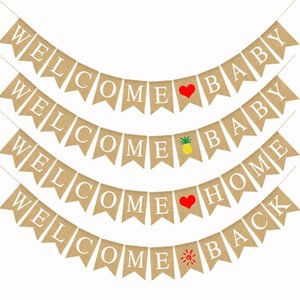 Decoración para fiestas Pull Flag Welcome Home Baby Style Banner de colores Piña Amor Patrón de corazón Banderas de cola de golondrina 10 5df L1