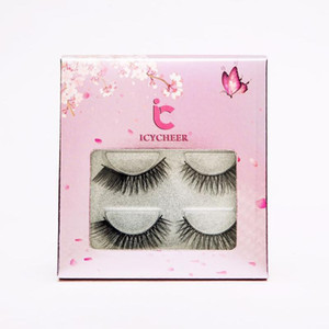 ICYCHEER Sakura 3 pares Eye Lashes Handmade Natural Falso Cílios 3D Mink Lashes composição dramática cílios Maquiagem embalagem do presente
