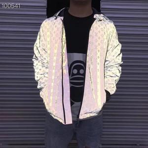 dos homens Designers Jacket luxo Carta Reflective Material de homens Blusa roupa com capuz manga comprida de e Real Rótulo de Mulheres New