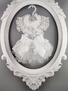 Free shipping handmade dog clothes white diaphanous High-end bridal veil fabric lace tulle dog wedding dress for cat pet