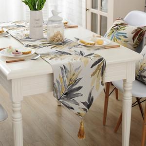 Runner da tavolo moderno moda Runner da tavolo in nylon colorato Jacquard Runner con nappe Runner ricamato da tavola