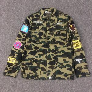 Camisa verde principal Pin caliente Un baño Un mono Ejército 19Bape chaqueta de manga larga
