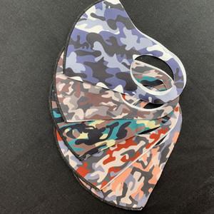 قناع الوجه التمويه الاطفال الجليد الحرير تنفس الغبار مضاد الفم أقنعة غط قابل للغسل قابلة لإعادة الاستخدام الكبار كامو الوجه مع 1200PCS OPP BAG CCA12203