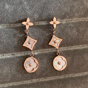 Lüks çiçek düğün Takı 316L Paslanmaz Çelik 18K uzun sarkıyor mu Küpe Kadınlar kızlar için altın pul mektup damla opal gül