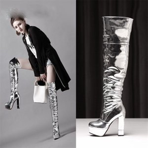 Sexy 12.5cm Thick with Super High-heeled Patent Leather Pole Dance Over The Knee Female Long Boots