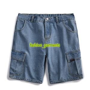 New Denim Shorts Mens Casual été lâche droite Shorts personnalité Tendance Mode Hommes Jeans Noir Bleu 2 couleurs