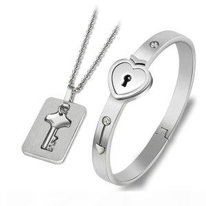 Новые моды Пары Jewelry 2pcs браслет из нержавеющей стали Silver Love Heart Замок Matching Key Tag ожерелье Парой Set