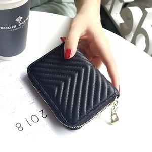 V motif véritable femmes en cuir Wallet luxe en peau de mouton Femme court porte-monnaie fil Designer dames Carte Lambskin Card Holder Pocket Nouveau