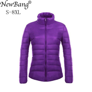NewBang 브랜드 6XL 7XL 8XL 울트라 라이트 자켓 여성 스탠드 칼라 휴대용 경량 코트 경량 자켓 여성 코트