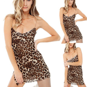 Bayan Moda Leopard Baskı Kayma Elbise Holiday Beach BODYCON Partisi Mini Elbise