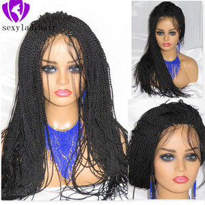 200density full Micro Braided Wigs Synthetic Lace Front Wig for Black Women African American Braided Havana Twist Lace Wig with baby hair