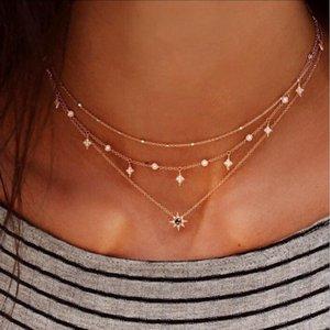 RscvonM Bohomian mehrschichtige Halskette 2018 neueste Art und Weise Halsketten-Kristallstern-Anhänger Kette goldene Farbe Frauen Schmuck