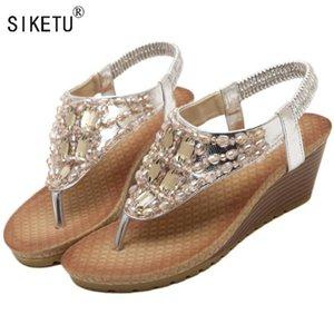 SIKETU Nuevos 2020 zapatos de las sandalias del verano del estilo de Bohemia cuñas de tacón Rhinestone de las sandalias