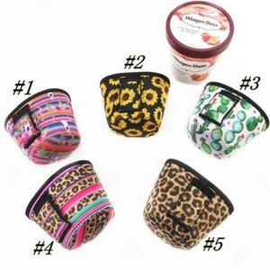 Neoprene Ice Cream Tampa Leopard Print Sunflower pode refrigerador Covers Cactus Lolly Bags Ice Cream caso titular Ferramentas ZZA1831 300PCSN