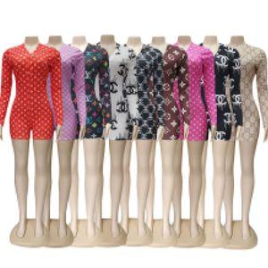 Sommer-Frauen-Designer Overall-Spielanzug reizvoller tiefer V-Ausschnitt gedruckt Langarm-Button-Shorts Enge Playsuit Pants 00