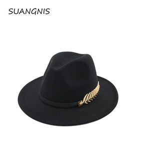 Woolen Felt Hat Panama Jazz Fedoras hats with Metal Leaf Flat Brim Formal Party And Stage Top Hat for Women men unisex