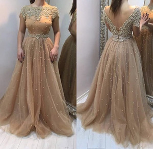 Luxury Pearls Beading Crystal Prom Formal Dresses With Sleeves V Open Back Pageant Dress Women Evening Gowns Long Tulle paolo sebastian