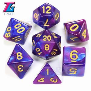 New 7pcs Mix cor mágicos roxos Dice Set com nebulosa jogo efeito rpg dos dados Brinquedos Dados juguetes masmorras e dragões