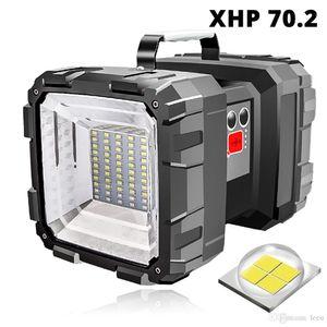 Ricaricabile a LED Searchlight Doppia testa Torcia condotto il riflettore con XHP 70,2 branello della lampada luce di campeggio impermeabile