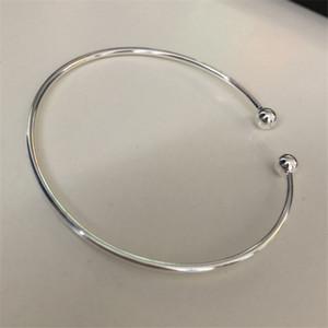 Tom de Ouro de prata Expansível Open Wire Ball Bangles Para As Mulheres Simples Cuff Charm Bracelets Frete Grátis