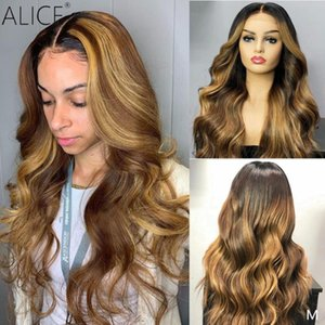 """Alice 13x6 Highlight Lace Front Human Hair Wigs For Black Women Non-Remy 130 150 Density 8-24""""130 150 Density Wave Hair"""