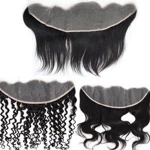 13x4 페루 투명 레이스 정면 폐쇄 미리 뜯어 낸 최고 품질 10A 원시 처녀 머리 스트레이트 물결 모양의 곱슬 표백 된 매듭 자연 색상