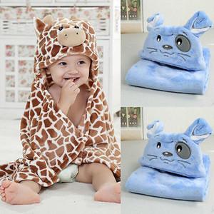 Zürafa Ayı Şekilli Bebek Kapüşonlu Bornoz Yumuşak Bebek Yenidoğan Banyo Havlusu Battaniye Gazlı Bez Banyo Havlu Pamuk Bebek Yenidoğan Için Kundak