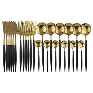 Oro blanco 24pcs / conjunto de espejos cubiertos conjunto de vajilla de cocina de acero inoxidable 304 Vajilla Cuchillo Tenedor Cuchara vajilla Restaureant