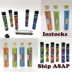 Moonrock tubos de cristal Preroll Embalaje Botella de plástico Cap Dankwoods seco hierba Embalaje Tubos 120 * 21mm etiquetas de madera Cork vaporizador Cartucho