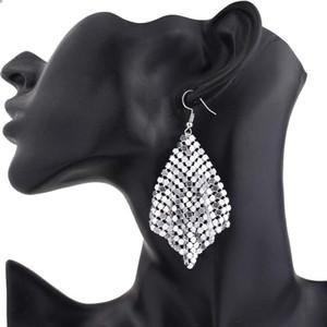 Gioielli paillettes goccia di modo orecchini geometrica nappa lucida ciondolano l'orecchino lungo lustro quadrato Mesh Hook Dichiarazione del partito delle donne Orecchini