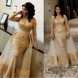 2020 Arapça Altın Şampanya Abiye Kadınlar Için Giyim Mermaid Dantel Aplikler Boncuk Overskirts Kat Uzunluk Örgün Balo Elbise Parti Abiye