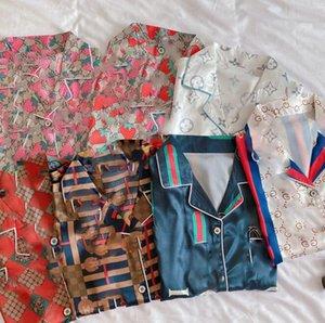 Lüks Yüksek Sınıf Pijama Pijama Yaz Buz İpek Harf pijamalar Kadın Short Sleeve Şort Gevşek Ev Giyim İki Parça Suit yazdır ayarlar