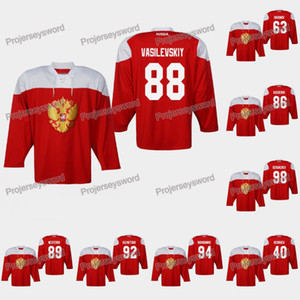 Rusia Andrei Vasilevskiy 2019 Campeonato del Mundo IIHF Jersey Ilya Kovalchuk Kirill Kaprizov Nikita Kucherov Nikita Nesterov Nikita Gusev