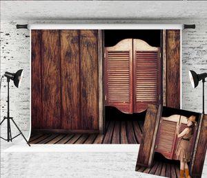 Fotoğraf Retro Batı Kovboy Kahverengi Ahşap Zemin Fotoğraf Background Fotoğrafçı Çocuklar Yetişkinler için 7x5ft Eski Salon Ahşap Kapı Backdrop vur