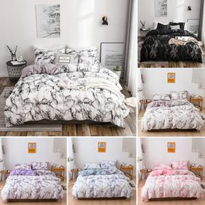 Jarl caseros calientes Juegos de cama patrón de mármol con cierre de cremallera de poliéster lijado edredones Juego de cama Decoración del dormitorio con diferentes tamaños