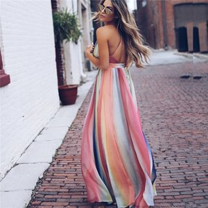 Boho Farbverlauf Spaghetti-Trägern Sexy Womens Boho Kleid Casual Slim V-Ausschnitt Langes Maxi-Kleid
