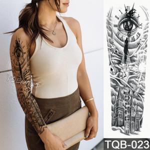 New 1 Piece Temporary Tattoo Sticker Clock eye city pattern Full Flower Tattoo with Arm Body Art Big Large Fake Sticker